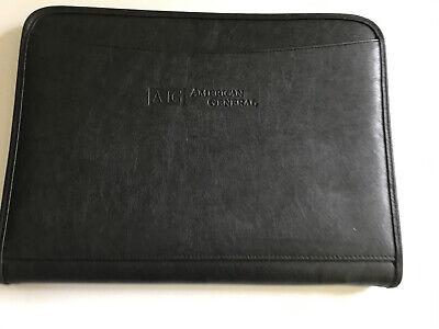 Leeds Aig Black Faux Leather Portfolio Organizer Folder Zipper Case