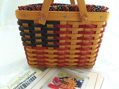 Longaberger Collectors Club 2002 MINIATURE Mini Flag Basket Combo set  for sale  Wrightsville
