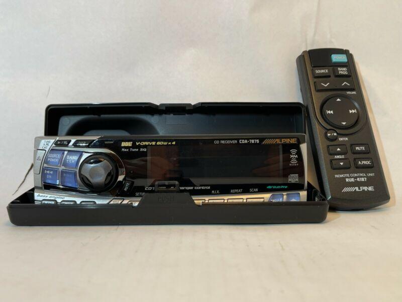 AlpineCDA-7875 Stereo: Faceplate w/ Remote Control and Case. Please Read Desc.