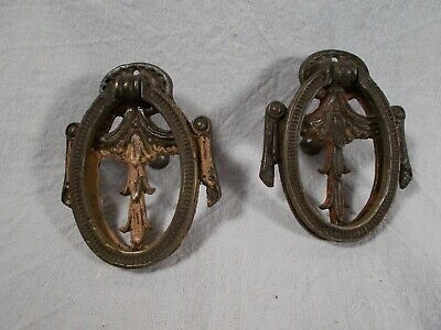 Loyal Antique Pair Of Vintage Victorian Cast Brass Heart Shaped Tear Drop Pulls To Have A Long Historical Standing Hardware