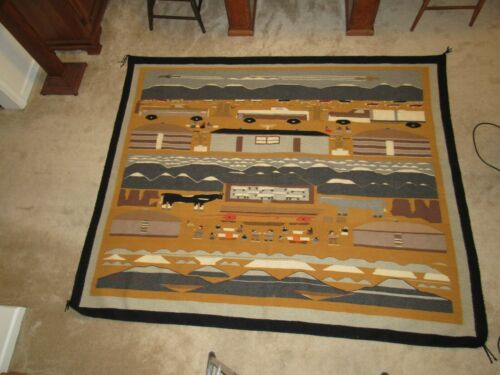 "Large & Charming Navajo Pictorial Rug, 88"" x 73"", Nice Condition"