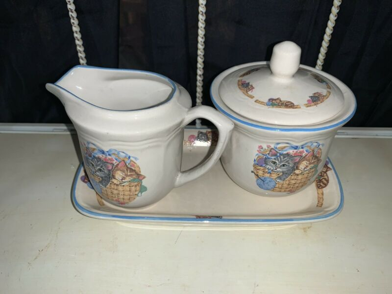 "TIENSHAN STONEWARE Creamer and Sugar Set ""Purrfect Friends"""