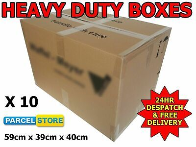 10 X Large Strong Cardboard House Removal Boxes 59cm X 39cm X 40cm (Waff)