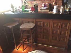 BAR COUNTER timber and leather arm rest Oak Flats Shellharbour Area Preview