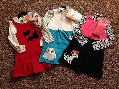 Nwt Gymboree Girls Jumper Dress With Tights Red Blue Or Pink Sz 4T 5 6 6X