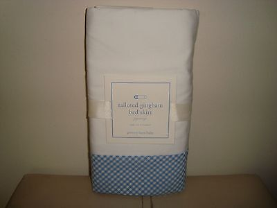 Pottery Barn Kids Tailored Gingham Crib Bedskirt Bed Skirt BLUE NEW
