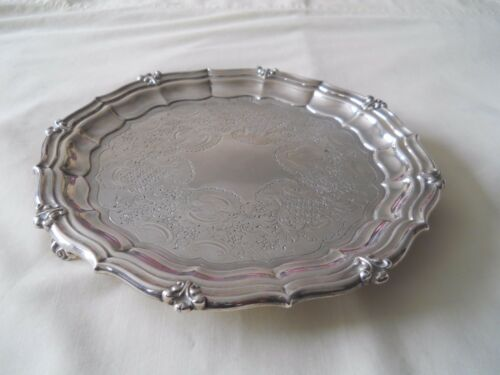 """ANTIQUE GEORGE IV STERLING SILVER 8.75"""" TRAY/SALVER 1827"""