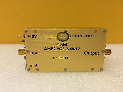 Amplical Amp2.9g3.2-40-17 2.9 To 3.2 Ghz 40 Db Sma F Rf Coax Amplifier. New