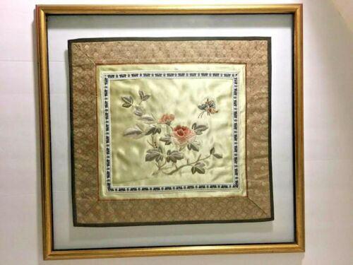 Vintage Embroidered Silk Wall Art Asian Floral Butterfly Glass Gilded Wood Frame