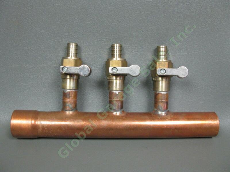 "NEW 3-Port 1"" Copper Plumbing Manifold Sweat 9"" Pipe Brass Ball Valves NSF-61-G"