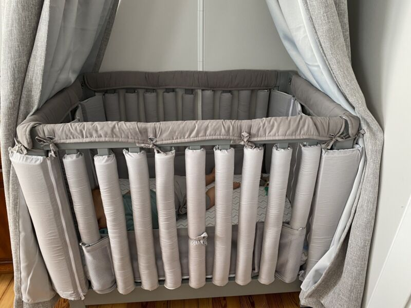 CaSaJa 4-Piece Mini Crib Rail Cover Set Entire Mini Crib Rails 24in x 38in GRAY