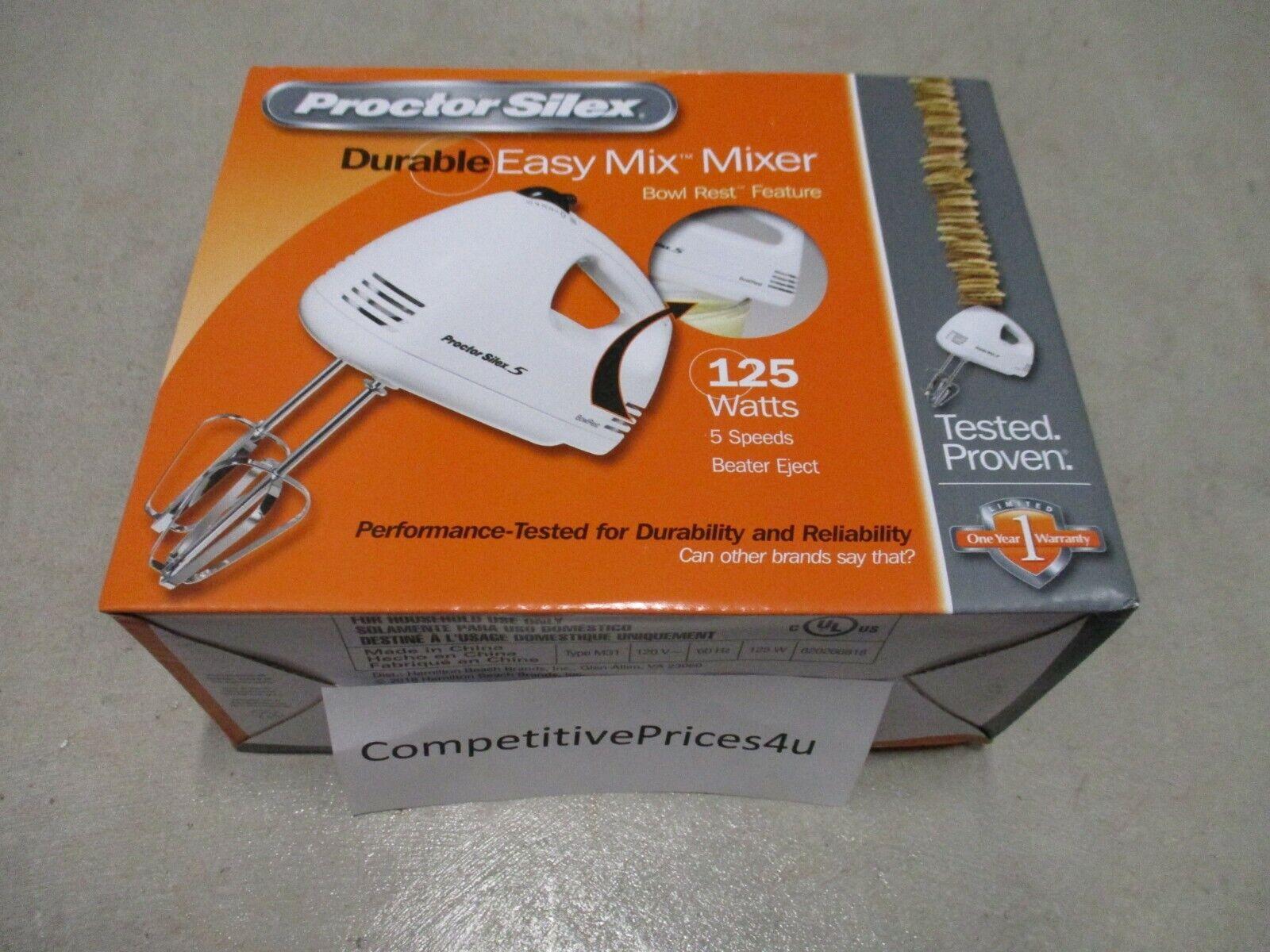 Proctor Silex 62515RY 125 Watt 5 Speed White Easy Mix Hand M