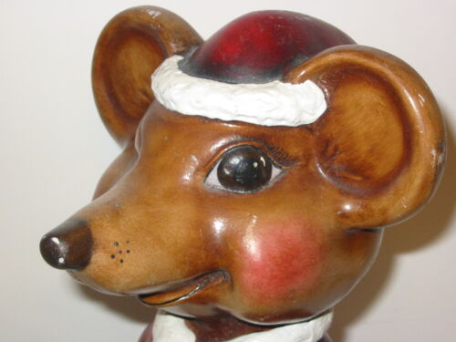 """Vtg 13"""" Ceramic Christmas Rat Mouse Figure Statue Santa Garden Gnome Lover Gift"""