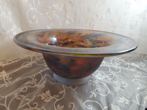 02 Chad Balster Swirl And Spot Bowl W Frosted Exterior Blues Reds.. - $49.99