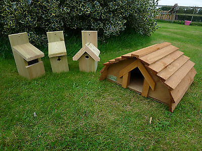 Hedgehog House & THREE Bird Nesting Boxes.  ***Exclusive to Country Rustics***