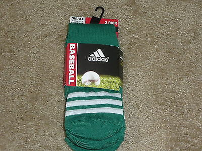 Compression Baseball Socks - 2 PAIRS ADIDAS BASEBALL SOCKS  CLIMALITE CUSHIONED COMPRESSION GREEN SMALL