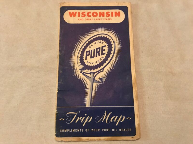 Wisconsin 1948 Vintage Road Map By PURE GASOLINE