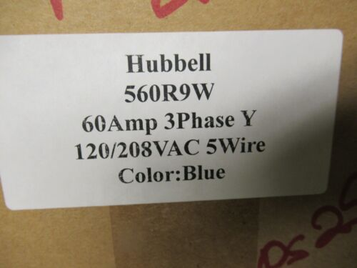 Hubbell 560R9W, 60 Amp, 120/208 Volt, 4 Pole, 5W, Pin & Sleeve Receptacle- PS25