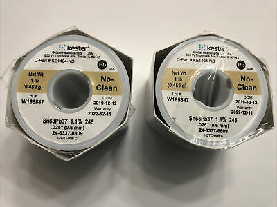 2 X 1lb Kester Solder 24-6337-8809 Sn63pb37 .025 .6mm  1.1 245
