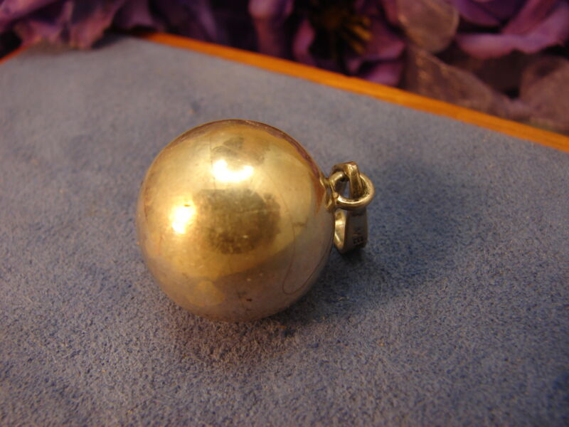 Vintage Mexican Sterling Silver Tinkling Fairy Harmony Chime Ball Pendant