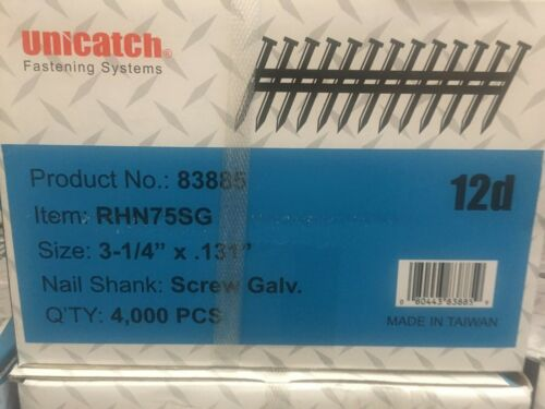 "3-1/4"" x .131 GALV, SCREW 21` Framing Nails 4000/Case Hitachi,DeWalt,Senco"