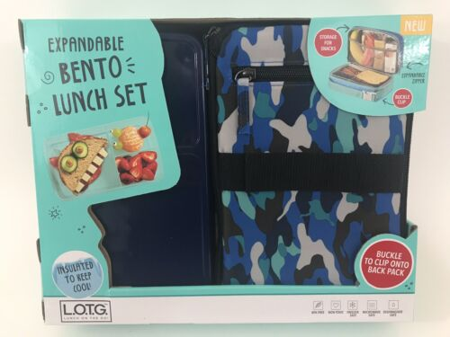 Fit & Fresh Bento Lunch Set Blue Lime Jungle Pattern NEW