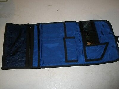 L.L.Bean Black & Blue Vinyl Travel Cosmetic Jewelry Make up Bathroom Bag  Black Vinyl Bean Bag
