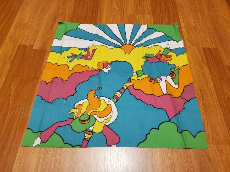 RARE Vintage Mid Century retro 70s 60s Peter Max bright cloud men fabric! LOOK!
