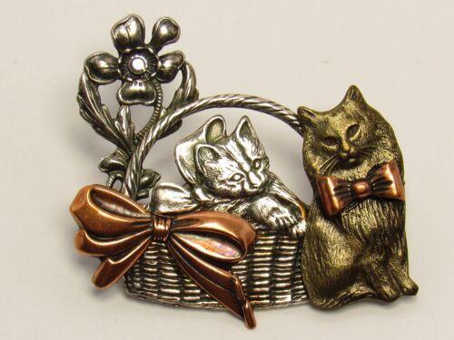Vintage KC Mixed Metal Kitten Kitty Cat Cats Basket Flower Pin Brooch