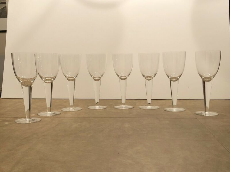 Set of 8 Mid Century Modern Rare Boda Nova SELECT Crystal Wine Glasses Sweden