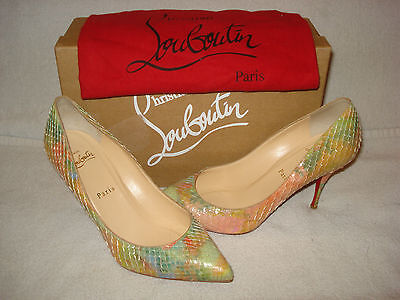 100% AUTH NEW WOMEN LOUBOUTIN PIGALLE 75 PYTHON PESCE PUMPS/HEELS US 8