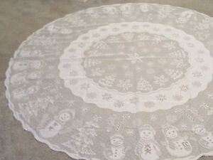 Christmas Ivory Lace Snowman Design Tablecloth 70 Round
