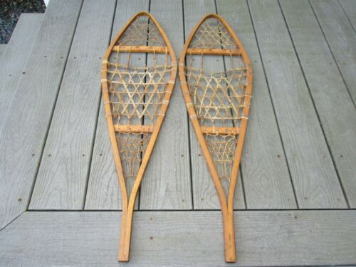 Vintage pair of wooden snowshoes