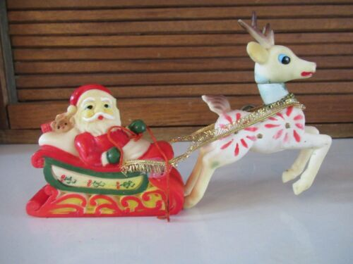 "Vtg Japan Christmas Rubber Santa in Sleigh with Rare ""Poinsettia"" Reindeer"