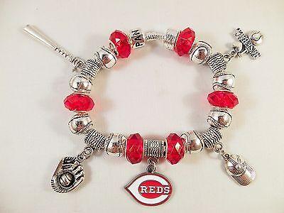 Crystal Cincinnati Reds Baseball - GLASS BEADS Official MLB CINCINNATI REDS Baseball Charm Bracelet CRYSTAL SILVER