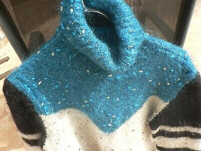 Pull femme mohair  tricot   taille  40/42   gris turquoise  fait main