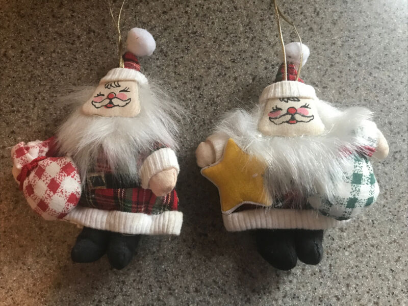 2 Vintage Asian Santa Ornaments