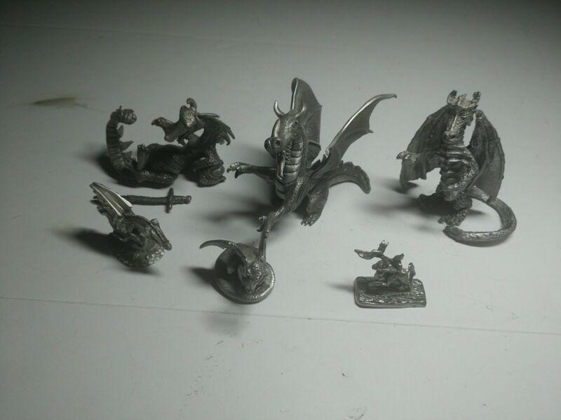 pewter dragon figurine lot Schmid+more vintage