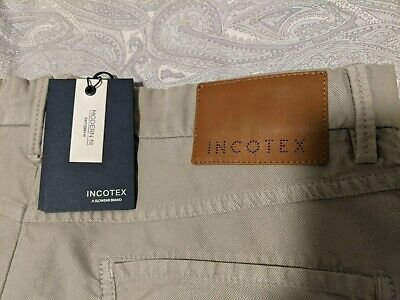 Incotex Mens Beige Cotton Modern Fit Pants Trousers Jeans 5-Pocket 34 New NWT