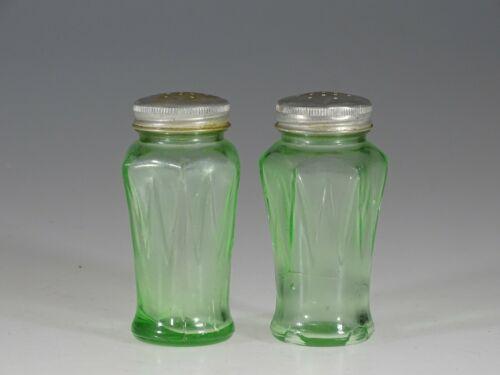 Vintage Deco Hazel Atlas Glass Green Icicle Motif Salt & Pepper Shakers c.1935
