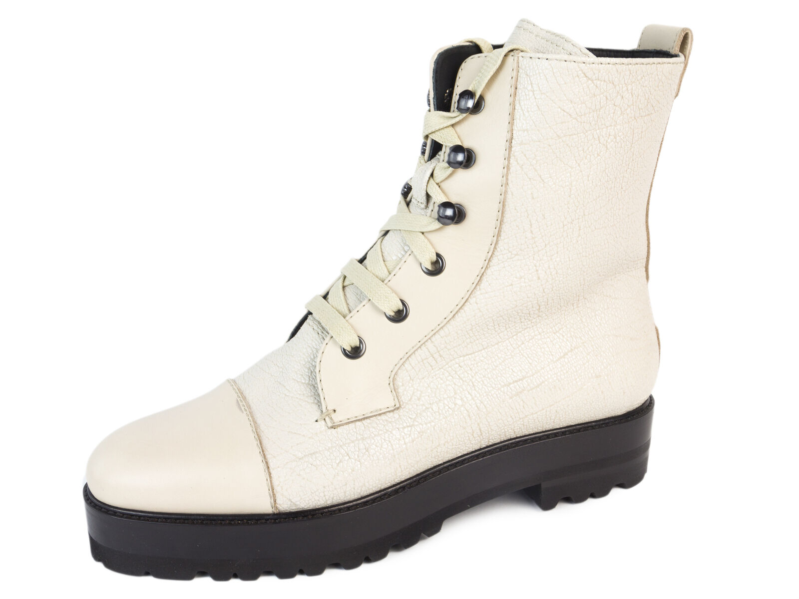 MAX MARA Women's Peana Albino Leather Combat Boots US 7 / IT 37 $745 NIB
