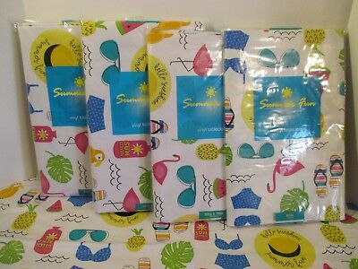 Easy Wipe Vinyl - Elrene Beach Pool Pink Flamingo Easy Wipe Vinyl Party Kitchen Picnic Tablecloth