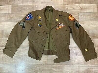WW2 US Army 1945 Wool IKE Field Jacket 34S w Sterling Wings Airborne Rank Etc