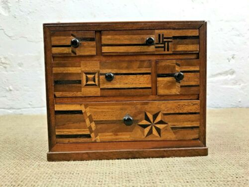 STUNNING ANTIQUE JAPANESE MARQUETRY INLAID SET MINIATURE CHEST OF DRAWERS-1910