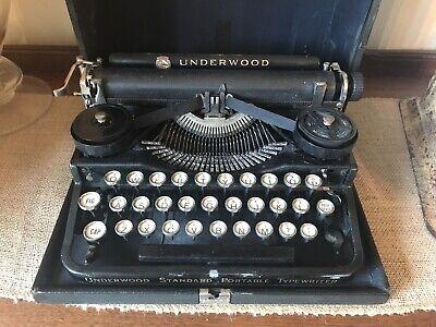 Collectible Antique Underwood Portable Typewriter White Keys W/Case Used