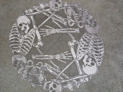 Halloween Pewter Lace Rest in Pieces Skeleton Table Topper 30 round