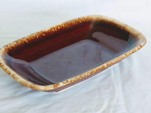 Hull Pottery Platter Drip Edge Plate 11 x 7 Dish Serving Tray Brown Oven Proof