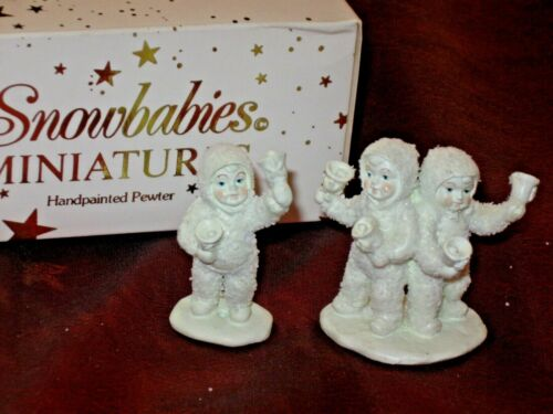 """DEPT 56 SNOWBABIES MINIATURES PEWTER FIGURINES """"LETS ALL CHIME IN"""""""
