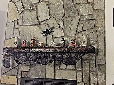 Halloween Black Gothic RIP Witches Brew design Mantel Scarf  90 x 19