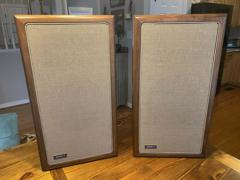 Large Advent Speakers Walnut Cabinets A4 Vintage Super NICE- clean!!  Work